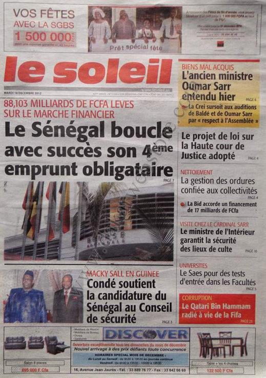 A la Une du Journal Le Soleil du Mardi 18 décembre 2012