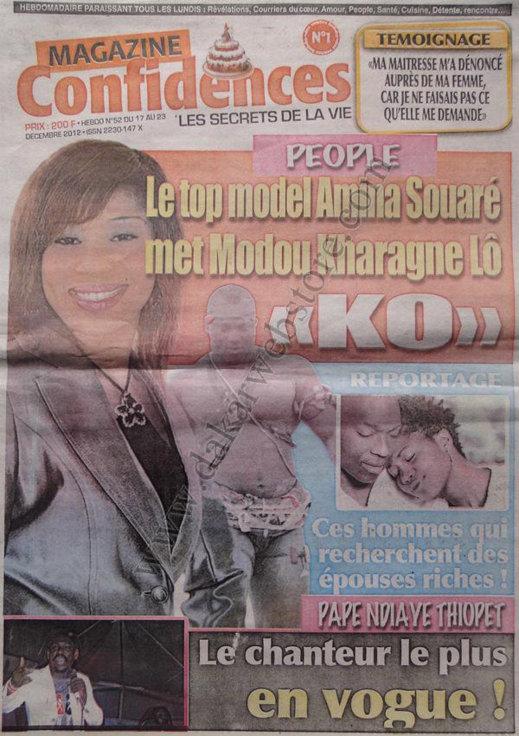 A la Une du Journal Confidences du Mardi 18 décembre 2012