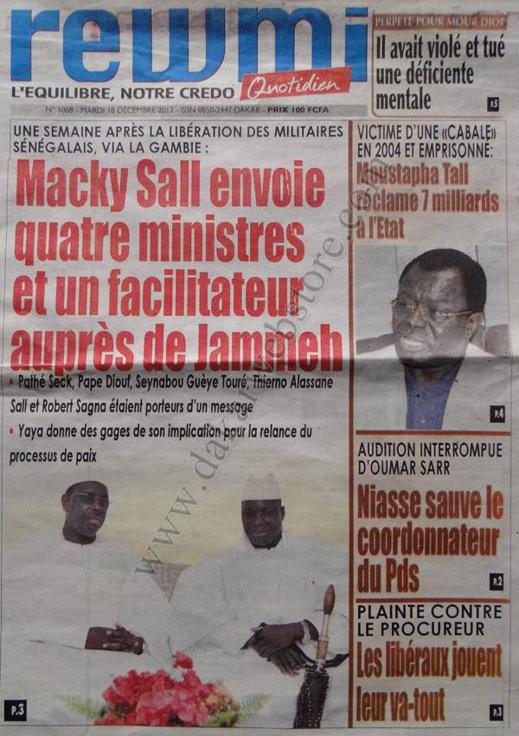 A la Une du Journal Rewmi du Mardi 18 décembre 2012