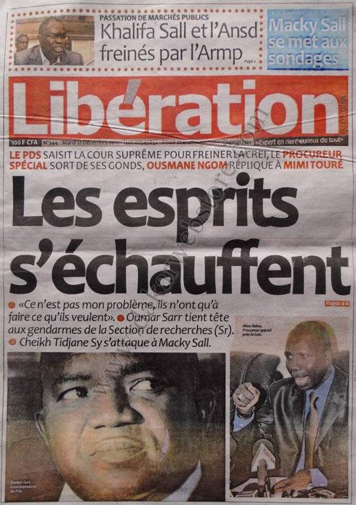 A la Une du Journal Libération du Mardi 18 décembre 2012