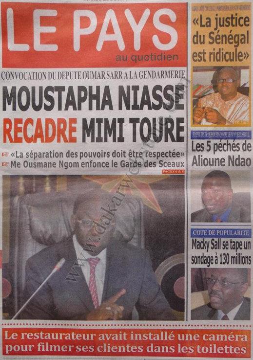 A la Une du Journal Le Pays du Mardi 18 décembre 2012