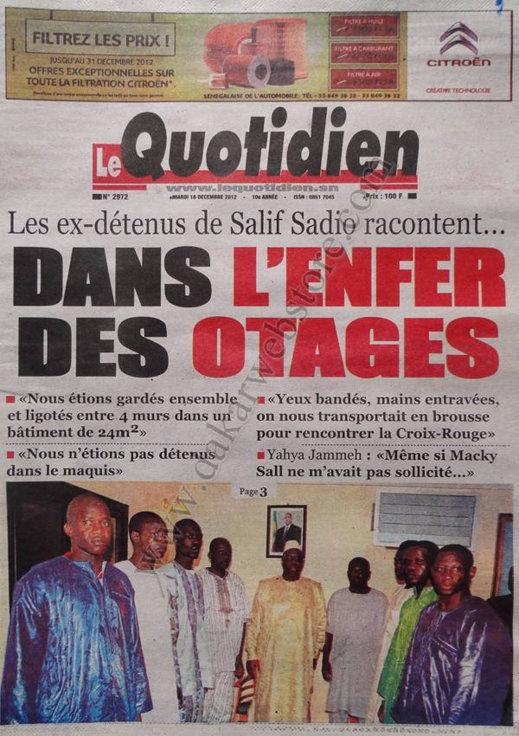 A la Une du Journal Le Quotidien du Mardi 18 décembre 2012