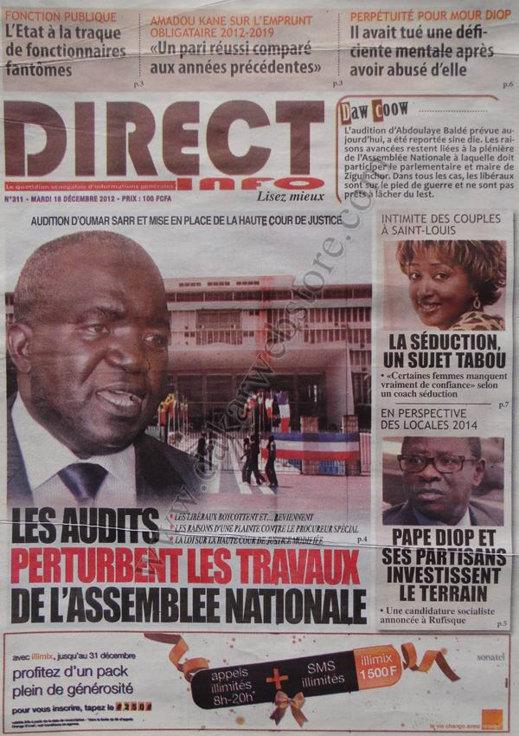 A la Une du Journal Direct Info du Mardi 18 décembre 2012