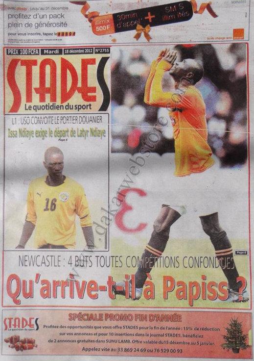 A la Une du Journal Stades du Mardi 18 décembre 2012