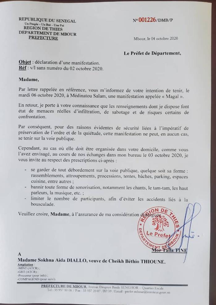 Le Préfet de Mbour interdit la voie publique à Sokhna Aïda DIallo