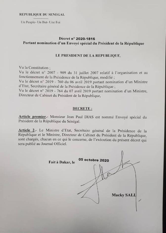 Le Président Macky Sall a nommé Jean Paul Dias, ancien ministre, Envoyé spécial du Président de la République.