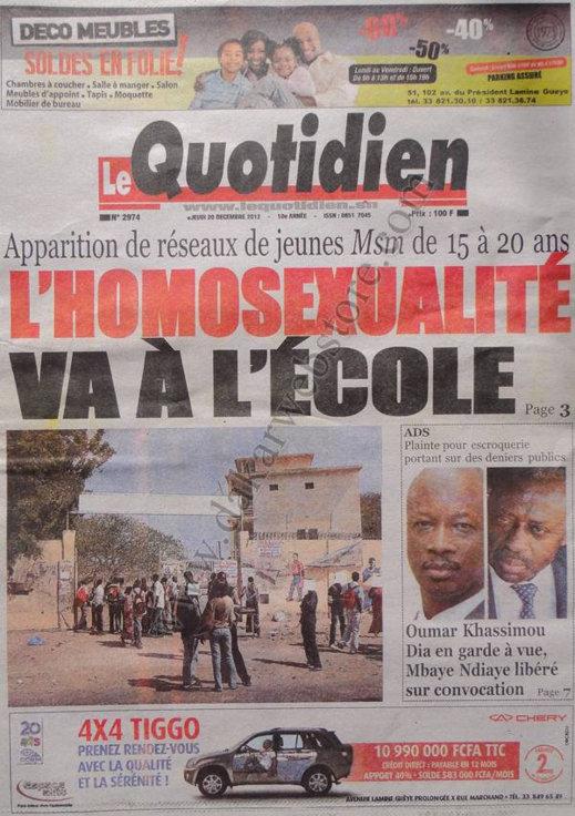 A la Une du Journal Le Quotidien du Jeudi 20 décembre 2012