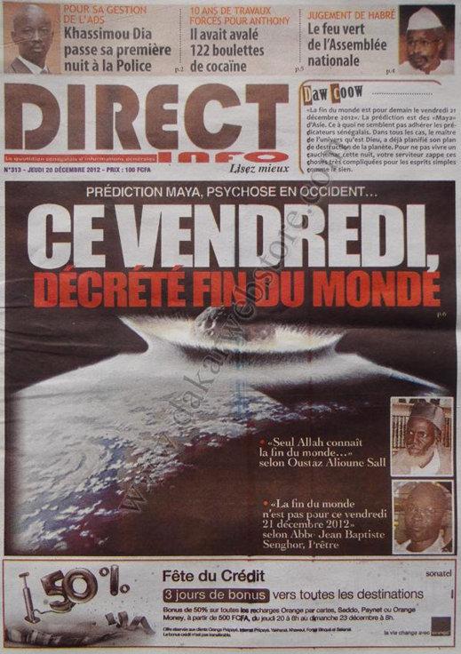 A la Une du Journal Direct Info du Jeudi 20 décembre 2012
