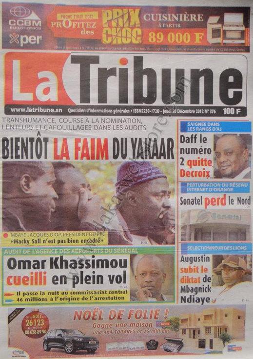 A la Une du Journal La Tribune du Jeudi 20 décembre 2012