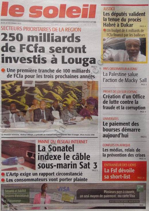 A la Une du Journal Le Soleil du Jeudi 20 décembre 2012