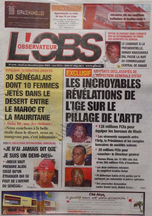 A la Une du Journal L'Observateur du Jeudi 20 décembre 2012