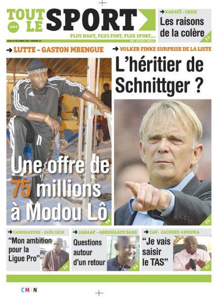 A la Une du Journal Tout Le Sport du Jeudi 20 décembre 2012