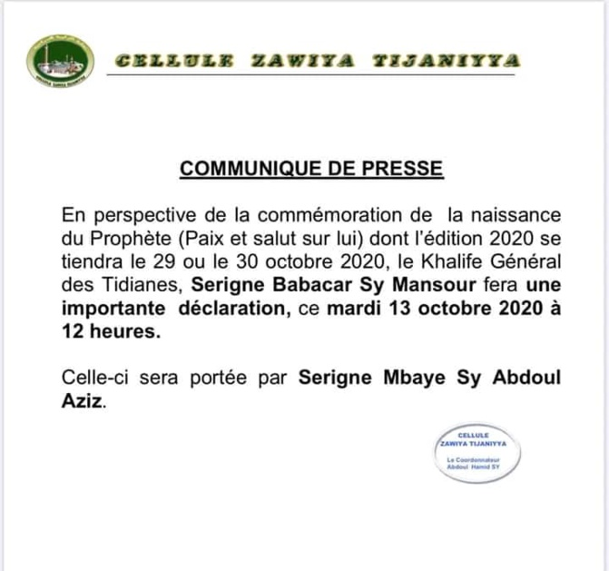 Organisation du Gamou: Tivaouane se prononce demain