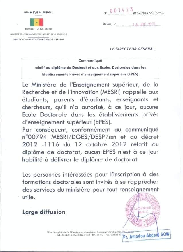 Ecoles doctorales dans les établissements privés: le ministère de l'Enseignement supérieur apporte des précisions...
