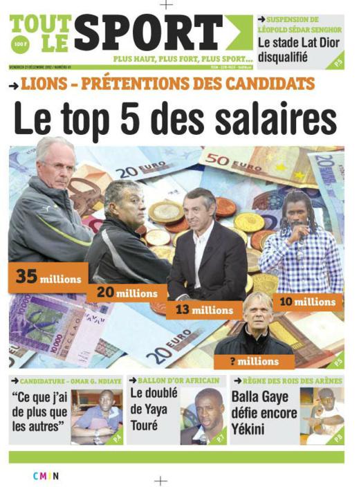 A la Une du Journal Tout Le Sport du Vendredi 21 décembre 2012