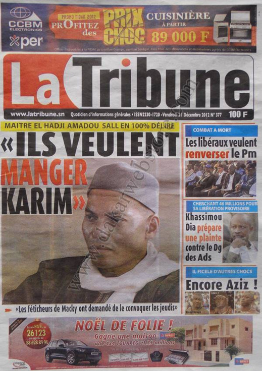 A la Une du Journal La Tribune du Vendredi 21 décembre 2012