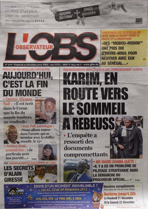 A la Une du Journal L'Observateur du Vendredi 21 décembre 2012