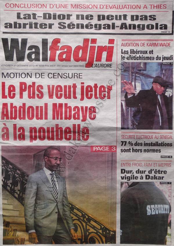 A la Une du Journal Walfadjri du Vendredi 21 décembre 2012