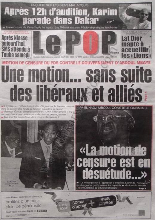 A la Une du Journal Le Populaire du Vendredi 21 décembre 2012