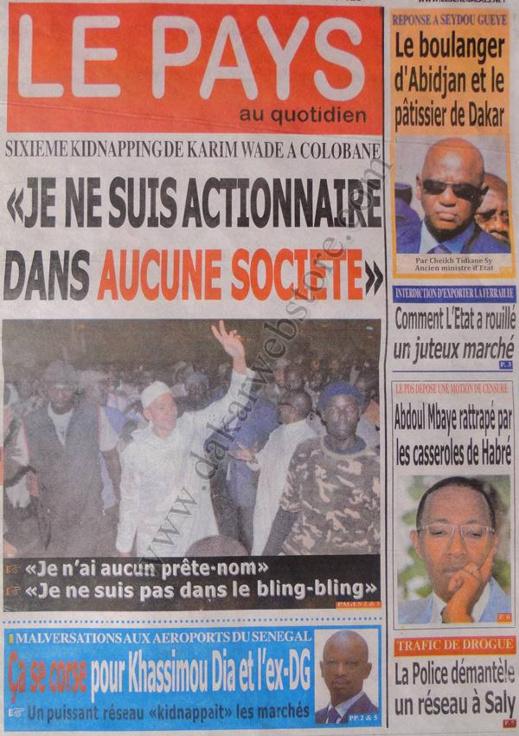 A la Une du Journal Le Pays du Vendredi 21 décembre 2012