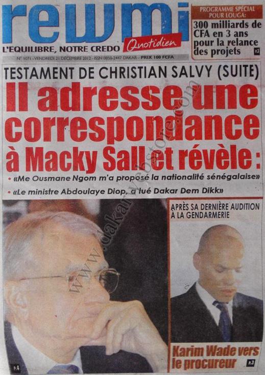 A la Une du Journal Rewmi du Vendredi 21 décembre 2012
