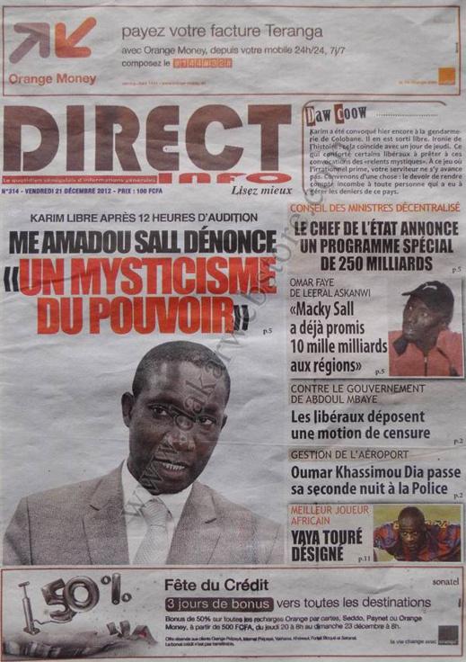 A la Une du Journal Direct Info du Vendredi 21 décembre 2012