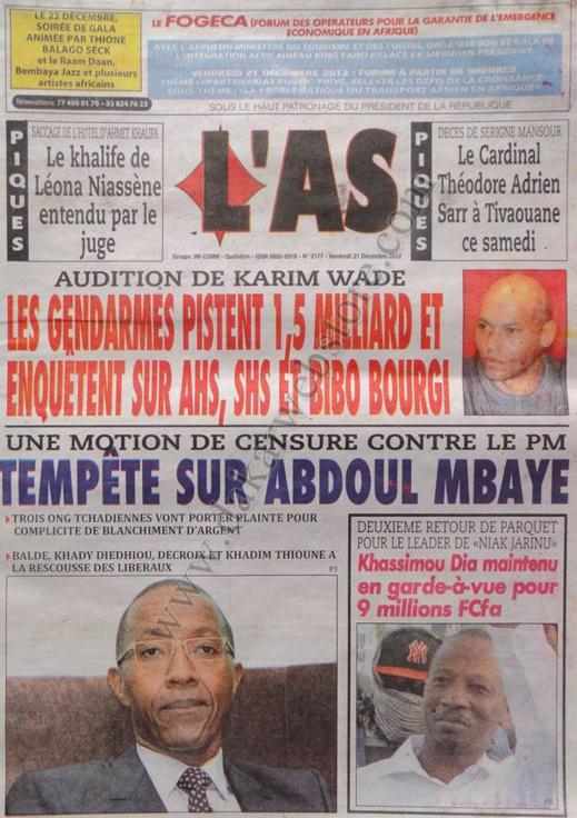 A la Une du Journal L'As du Vendredi 21 décembre 2012