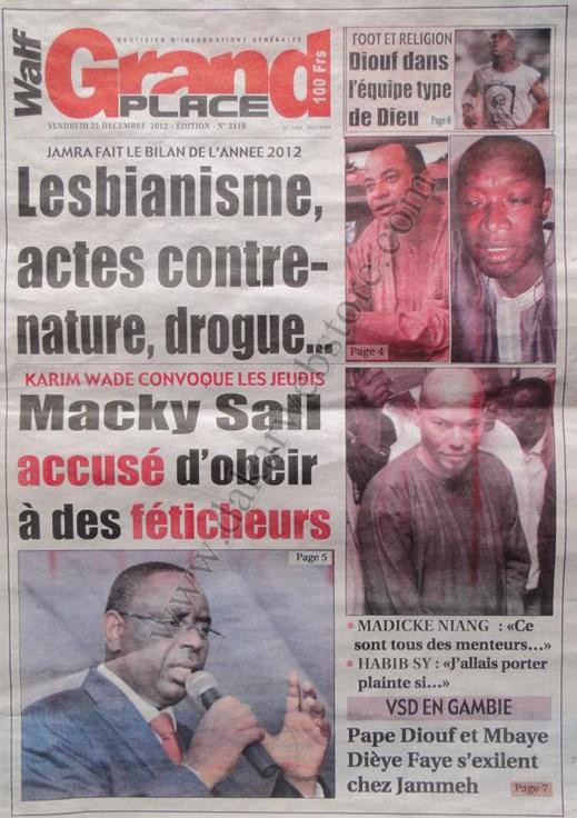 A la Une du Journal Walf Grand Place du Vendredi 21 décembre 2012