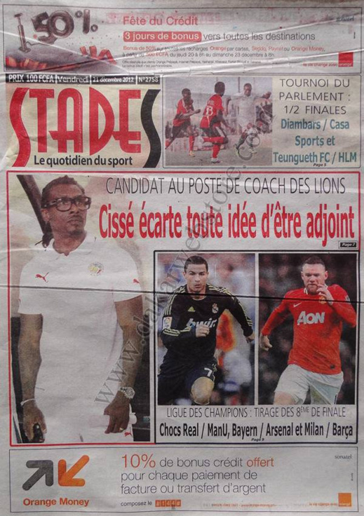 A la Une du Journal Stades du Vendredi 21 décembre 2012