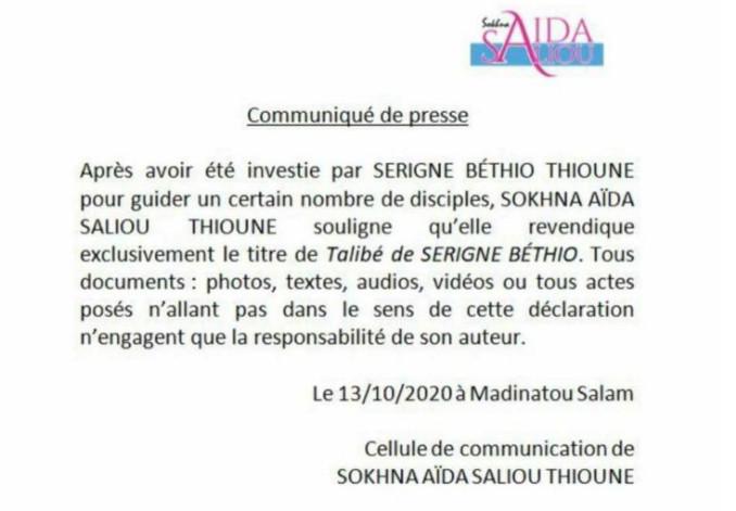 """Khalifat des Thiantacounes: """"Sokhna Aïda ne réclame que le titre de talibé Serigne Béthio"""""""