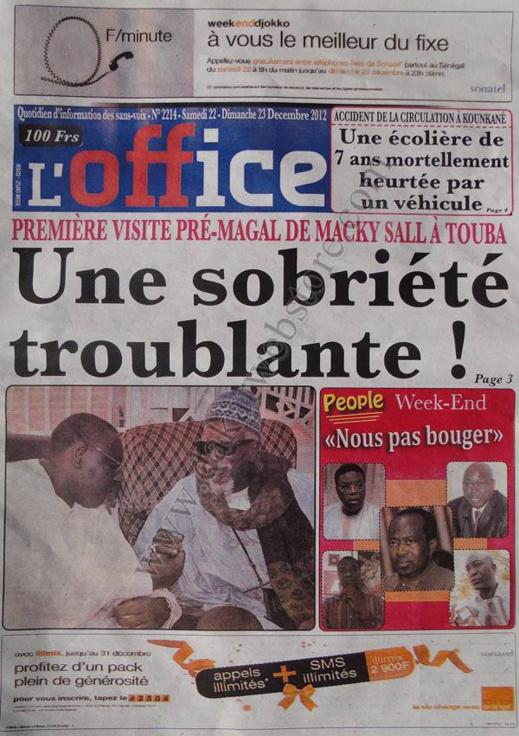 A la Une du Journal L'office du Samedi 22 décembre 2012