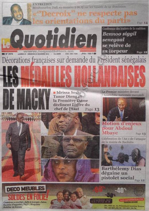 A la Une du Journal Quotidien du Samedi 22 décembre 2012