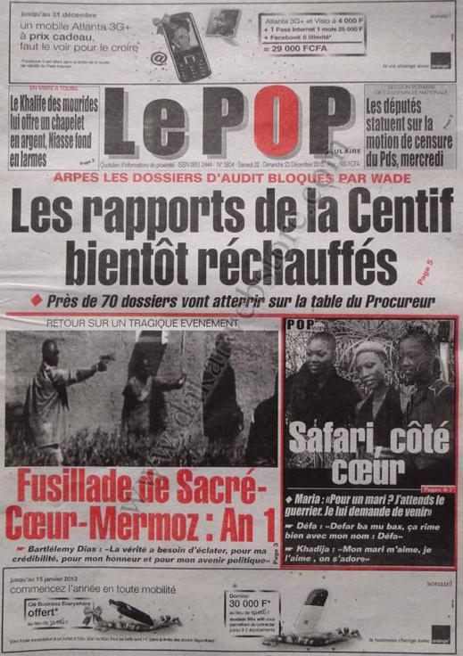 A la Une du Journal Populaire du Samedi 22 décembre 2012