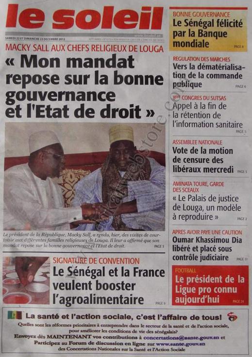 A la Une du Journal Le Soleil du Samedi 22 décembre 2012