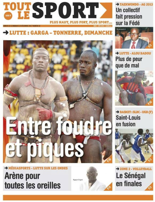 A la Une du Journal Toute Le Sport du Samedi 22 décembre 2012