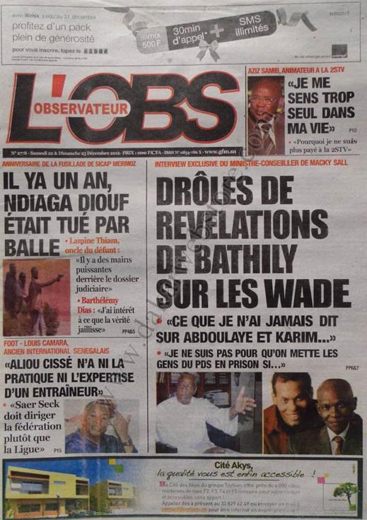 A la Une du Journal L'Observateur du Samedi 22 Décembre 2012