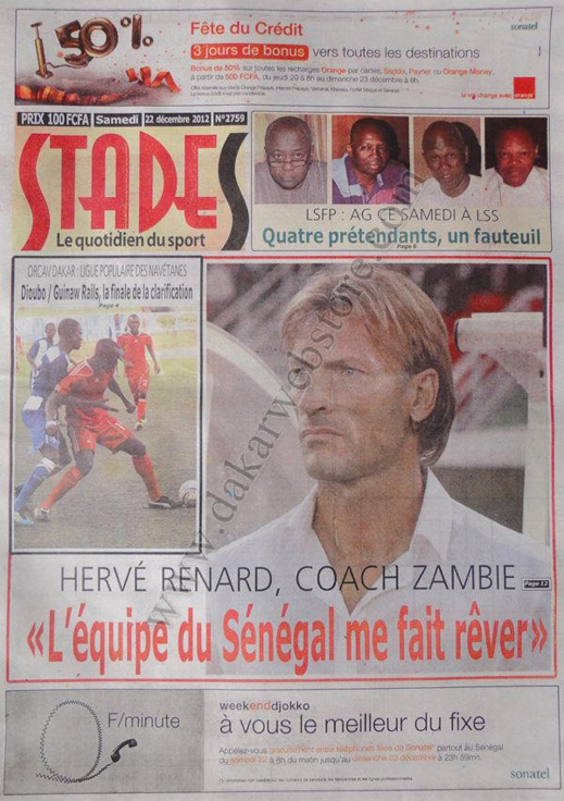 A la Une du Journal Stades du Samedi 22 décembre 2012