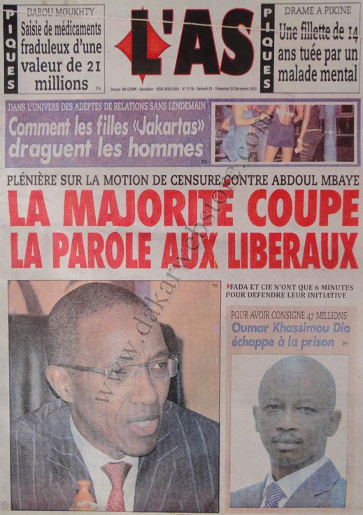 A la Une du Journal L'AS du Samedi 22 décembre 2012