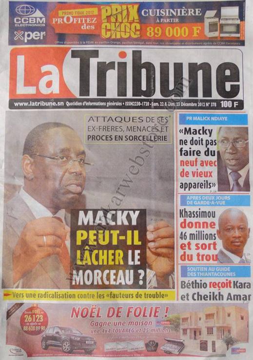 A la Une du Journal La Tribune du Samedi 22 Décembre 2012