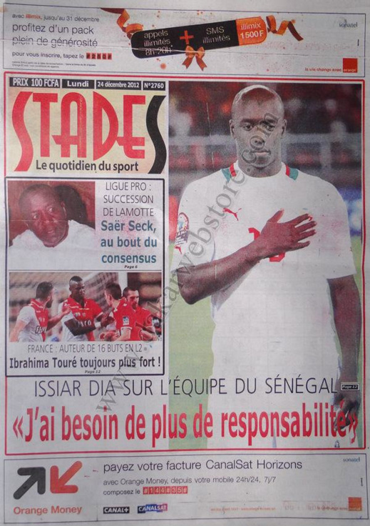 A la Une du Journal Stades du lundi 24 Décembre 2012