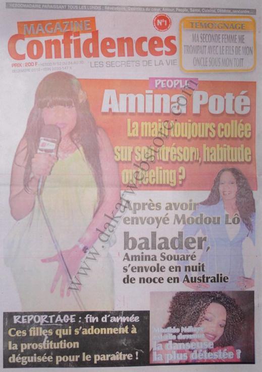 A la Une du Journal Confidences du lundi 24 Décembre 2012