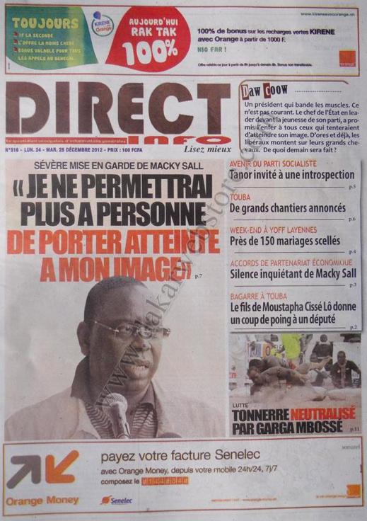 A la Une du Journal Direct Info du lundi 24 Décembre 2012