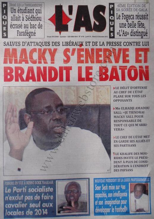 A la Une du Journal L'AS du lundi 24 Décembre 2012