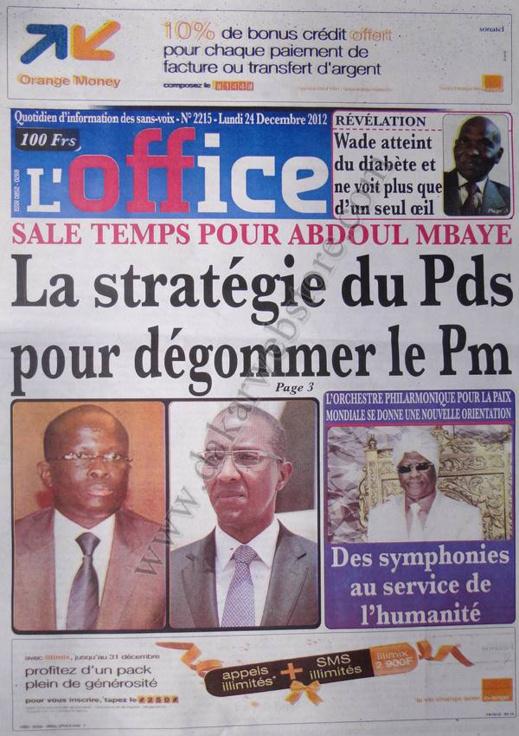 A la Une du Journal L'Office du lundi 24 Décembre 2012