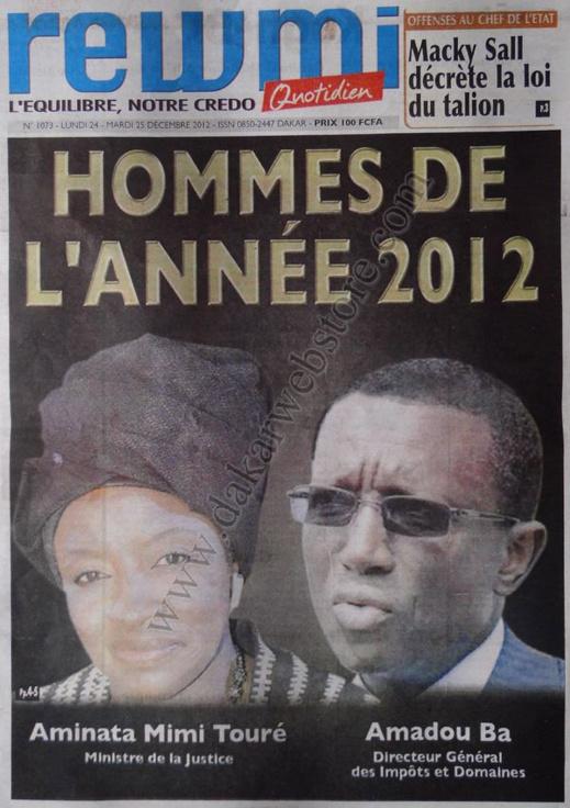A la Une du Journal Rewmi du lundi 24 Décembre 2012