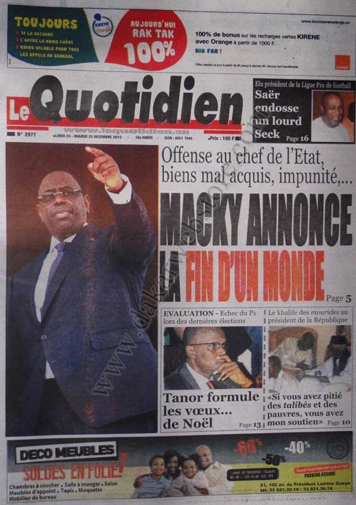 A la Une du Journal  Le Quotidien du lundi 24 Décembre 2012