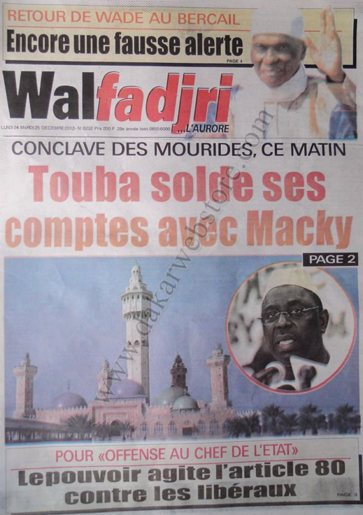 A la Une du Journal Walfadjri du lundi 24 Décembre 2012