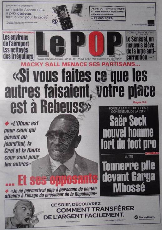 A la Une du Journal Le Populaire du lundi 24 Décembre 2012