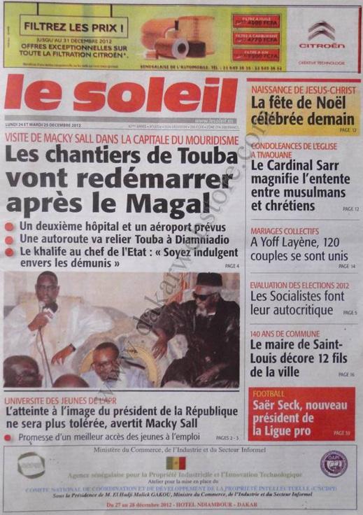 A la Une du Journal Le Soleil du lundi 24 Décembre 2012