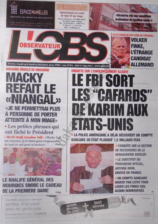 A la Une du Journal L'Observateur du lundi 24 Décembre 2012